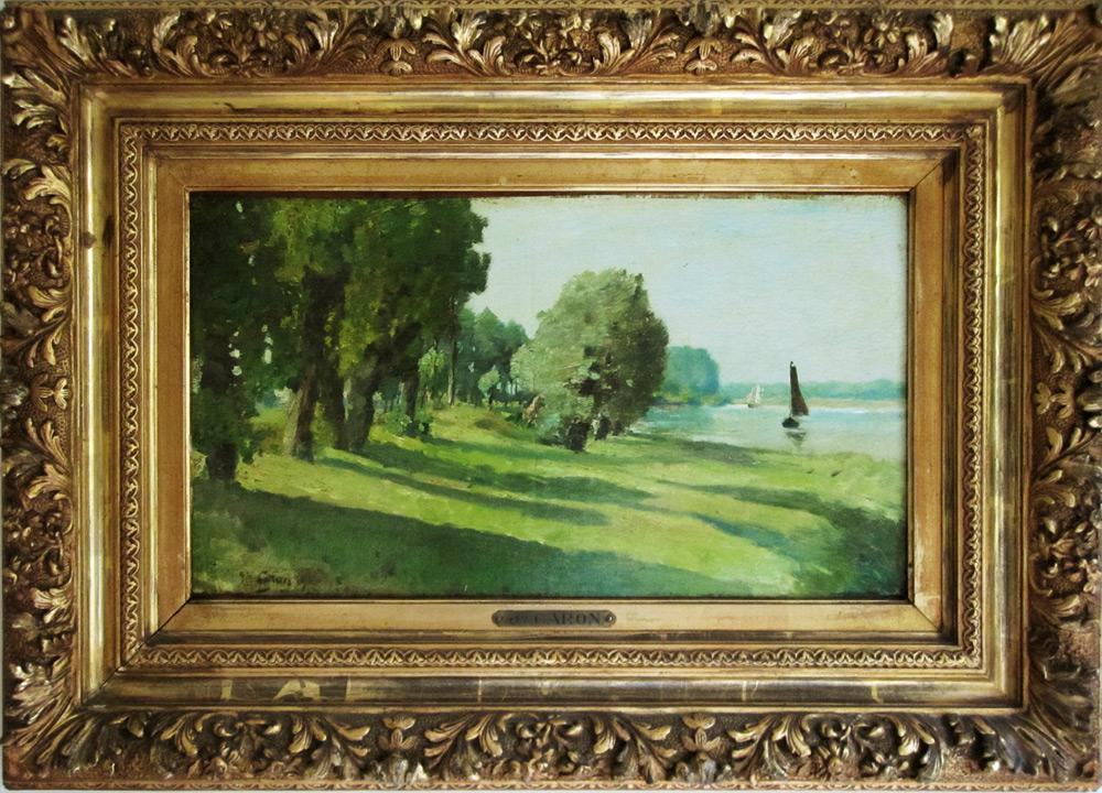 Caron, Au bord du lac, peintre belge, galerie d'art we art ...