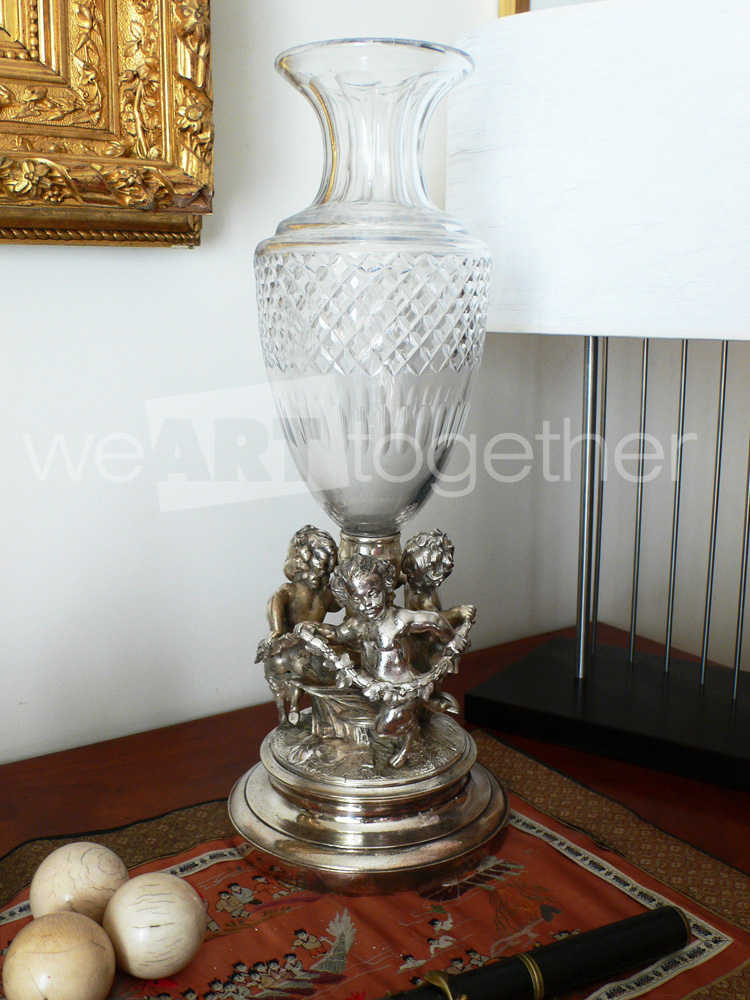 centre de table vase napol on iii cristal et bronze argent faunes amours anges galerie d. Black Bedroom Furniture Sets. Home Design Ideas